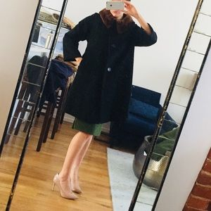 VINTAGE! 100% cashmere black coat with fur trim